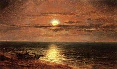 'Moonlit Seascape', Oil On Canvas by Jasper Francis Cropsey (1823-1900, United States)