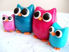 Mother's Day Family Portrait Owls Polymer Clay Owl Family Miniature Figures. $24.99, via Etsy.