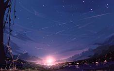 Anime Original Night Light Wallpaper Anime backgrounds wallpapers Anime background Anime scenery wallpaper