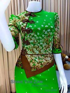 Mode Batik, Myanmar Dress Design, Indian Skirt, Kebaya, Retro, Blouse Designs, Designer Dresses, Wedding Planning, Bodycon Dress