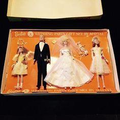 vintage-1963-BARBIE-WEDDING-PARTY-SET-1017-BOX-original-KEN-mattel-MIDGE-clothes