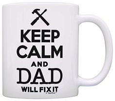 Fathers Day Gift Keep Calm Dad Will Fix It Birthday Gift Gift Coffee Mug Tea Cup White -- Details can be found by clicking on the image.