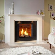 DRU Jessica Stone Fireplace with Lights and Global 55XT CF