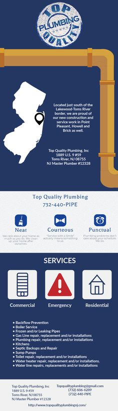 Located just south of the Lakewood-Toms River border, we are proud of our new construction and service work in Point Pleasant, Howell and Brick as well. People throughout Ocean County and Monmouth County are thrilled to meet the friendly and competent plumbers here at Top Quality Plumbing, Inc. Our crew is well equipped to handle any size plumbing Howell job. We are available 24/7 and we will work our schedule around yours. Our reputation speaks for itself, small fixes to new construction!