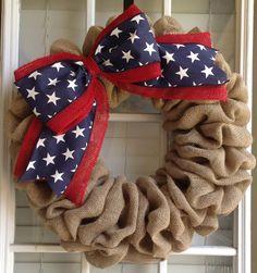 Patriotic Wreath Patriotic Decor Burlap Wreath by JnSMDesigns