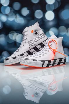 Virgil Abloh's background in architecture more often than not shines through on his sneaker collaborations. His Off-White x Converse Chuck 70 Hi is laced with nods to construction sites with bold warning stripes on the midsole. Sneakers Mode, Sneakers Fashion, Fashion Shoes, Shoes Sneakers, Cute Sneakers, Punk Fashion, Lolita Fashion, Fashion Dresses, Off White Shoes