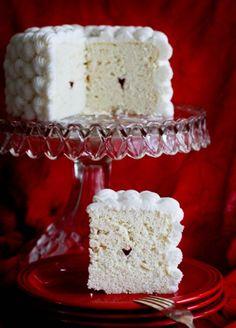 Mini Heart Surprise Inside Cake from iambaker.net