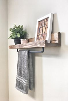 Rustic Wooden Rack Ledge Shelf Ledge Shelves Wooden Rack Rustic Home Decor Towel Rack Shelf Bathroom Rack Floating Farmhouse Shelf Bathroom Shelves For Towels, Towel Shelf, Floating Shelves Bathroom, Towel Rack Bathroom, Bathroom Storage, Small Bathroom, Bathroom Ideas, Bathroom Closet, Budget Bathroom