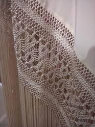 Resultado de imagen de enrejao de mantoncillos kika bonet Macrame Art, Crochet Borders, Silk Shawl, Lace Making, Embroidery Patterns, Weaving, Stitch, Detail, Handmade