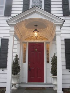 Charmant Portico With Red Front Door
