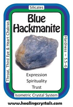 "Blue Hackmanite, ""I am open to infinite possibilities."" Hackmanite can help to combine higher intuition with mind/logic. Hackmanite is a wonderful crystal to use when wanting to attain a deep, spiritual meditative state. It facilitates feelings of joy, freedom and happiness. Hackmanite has an extremely fine vibration while remaining connected to the Earth. Code HCPIN10 = 10% off http://www.healingcrystals.com/Hackmanite_-_Blue_Hackmanite_Chips_Chunks__Pakistan_.html"