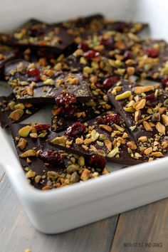A Serving Tray Of Dark Chocolate Bark with Pistachios, Dried Cranberries & Sea Salt
