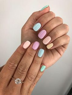 Colorful Nail Designs, Acrylic Nail Designs, Colorful Nails, Shellac Nail Designs, Pastel Nail Art, Easter Nail Designs, Nail Color Designs, Nail Designs For Spring, Simple Designs