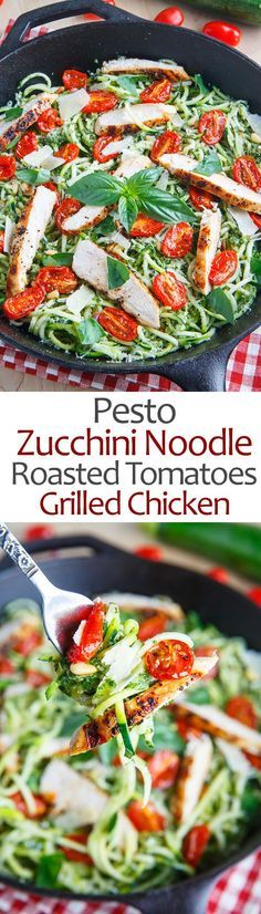 Healthy Recipes : Illustration Description Pesto Zucchini Noodles with Roasted Tomatoes and Grilled Chicken. I love the fresh ingredients in this. I always make a large batch of pesto and freeze it for dishes like this…. Zoodle Recipes, Spiralizer Recipes, Paleo Recipes, Low Carb Recipes, New Recipes, Cooking Recipes, Recipes Dinner, Veggetti Recipes, Tapas Recipes