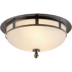 Visual Comfort Studio Openwork Small Flush Mount in Bronze with Frosted Glass SS4010BZ-FG