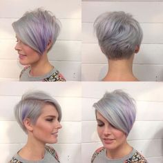 Lavender Pixie-Bob Modern choppy pixie cuts are all about blends… Blends of lengths, textures and hues result in swoon-worthy hairstyles you can't pass unnoticed in the street. This lavender pixie-bob is one of those. Short Asymmetrical Hairstyles, Cute Short Haircuts, Bob Hairstyles For Fine Hair, Layered Bob Hairstyles, Haircuts With Bangs, Pixie Hairstyles, Pixie Haircuts, Choppy Pixie Cut, Edgy Pixie Cuts