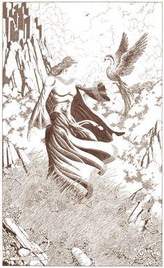 Commanding the Phoenix (Ink on Board) Copyright 2001 by James F. Baldwin, Jr. and Greenway Studio, LLC