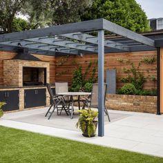 Backyard Garden Landscape, Backyard Patio Designs, Outdoor Pergola, Backyard Pergola, Pergola Designs, Backyard Landscaping, Modern Pergola, Patio Ideas, Garden Bbq Ideas