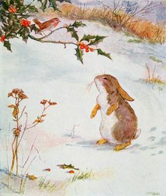 """""""I say Bob, who is Jack Frost?"""" from 'Busy Bunny Book', illustration by Alan Wright and Anne Anderson"""