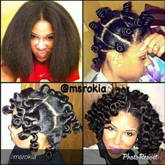 Bantu knots on blow dryed hair.