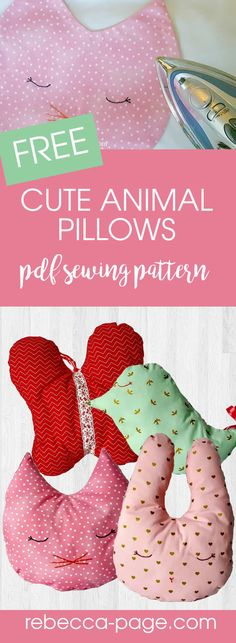 Kids will absolutely love these cute and cozy little pillows from this free animal pillow sewing pattern! The perfect size to use up left over material.