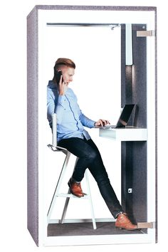 Soundproof office pods and phone booths - Vetrospace Office Deco, Office Pods, Open Space Office, Sound Absorption, Office Background, Ral Colours, White Laminate, Modular Design, Sound Proofing