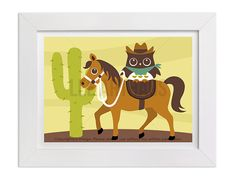 181 Owl Wall Art  Owl on Horse with Cactus Wall Art  by leearthaus