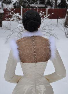 Before the Automobile: coutil 1880's Natural Form era Princess Line Dress w/ brocade vest