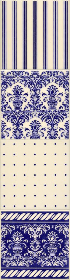 Edwardian Blue Tiles. Reflecting the natural beauty of the Victorian and Edwardian era, the rich blue Edwardian collection of tiles weave a unique magic; bold, flowing patterns and rich colours characterise these classic designs from this highly decorative period of time. Today, lovingly recreated to the highest possible standards of quality, they impart an undeniable air of prestige and luxury to any home.