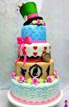 Alice in Wonderland tiered tea party birthday Cake idea Alice In Wonderland Birthday, Alice In Wonderland Tea Party, Fancy Cakes, Cute Cakes, Gorgeous Cakes, Amazing Cakes, Bolo Fack, Gateaux Cake, Tea Party Birthday