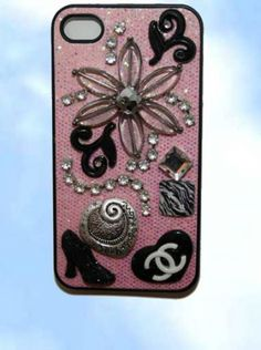 iphone 4 case.  Chanel inspired with clear murano glass flower and rhintstone accents.  www.wowever.com    $29.95