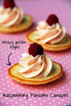 Raspberry pancake canapé with raspberry buttercream