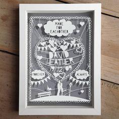 personalised love/anniversary papercut by papercuts by cefuk | notonthehighstreet.com