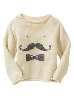 Intarsia mustache sweater for baby boy. so cute! #gap
