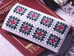 Plastic canvas eyeglass case: Another cute plastic canvas pattern! I like the granny-square look! Click the link to find the pattern on our website (download it for $2.99) - LeisureA Arts