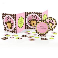 Monkey Girl - Baby Shower Table Decorating Kit | BigDotOfHappiness.com - Table Confetti & 3 Centerpieces