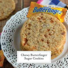 Chewy Butterfinger Sugar Cookies Chewy Sugar Cookies, Yummy Cookies, Cookies Et Biscuits, Drop Cookies, Easy Cookie Recipes, Sweet Recipes, Yummy Recipes, Baking Recipes