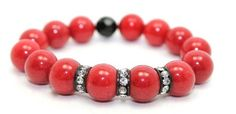 Red Jade and Black Rondelles of Crystals Stretch Bangle Bracelet | AyaDesigns - Jewelry on ArtFire