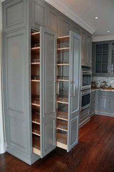 Cute Home Decor kitchen pullout cabinets.Cute Home Decor kitchen pullout cabinets Kitchen Pantry Design, Diy Kitchen Storage, Kitchen Redo, Home Decor Kitchen, Interior Design Kitchen, Kitchen With Pantry, Kitchen Organization, Kitchen Pantry Cabinets, Wall Pantry