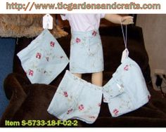 18 inch doll skirt Embroidered roses and foliage on Lt. Blue Denim  Item S-5733-18-F-02-2