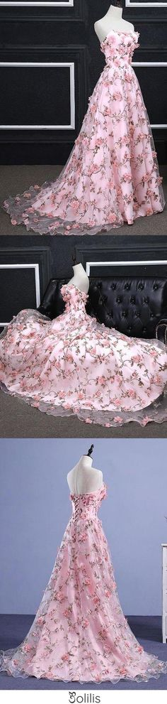 Buy Pink A-line Sweetheart Strapless Sweep Train Floral Print Long Lace Prom Dresses with flowers online.Shop our beautiful collection of unique and convertible long Prom dresses from jolilis,offers long bridesmaid dresses for women in the UK. Black Prom Dresses, Long Bridesmaid Dresses, Pretty Dresses, Beautiful Dresses, Flower Dresses, Ball Dresses, Ball Gowns, Evening Dresses, Dresses Dresses