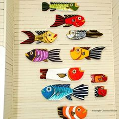 Silver Fish Decor Painted Wood Folk Art. $60.00, via Etsy.