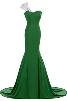 DINGZAN Lace One Shoulder Mermaid Evening Prom Gowns Brid...