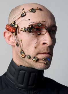 A limited edition variation on the cybernetic head systems I make with a more steam punk aesthetic fused with a more tech design    more