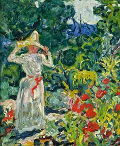 Dame mit weissem Hut im Garten (c. by Louis Valtat French artist associated with the Fauves (mutual art) Modern Artists, French Artists, Martin Johnson, Henri Matisse, Impressionism, Lovers Art, Female Art, Oil On Canvas, Art Drawings