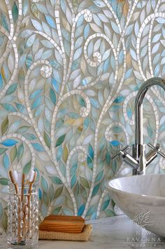 for my nature spa bath, the perfect Mosaic Tile backsplash: Climbing Quartz (look like mother-of-pearl) Vines with Leaves of glass Aquamarine tones. Perhaps add some light green glass leaves, too