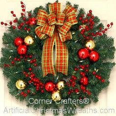 Deluxe Traditional Christmas Wreath with Lights 2015 - Our Deluxe Traditional Christmas Wreath is beautifully decorated with bright red berries, shatter proof red and gold balls, and a lovely plaid bow! #christmaswreath