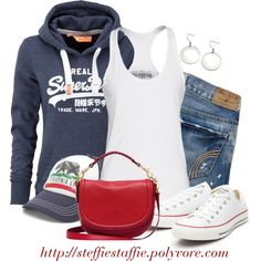 SuperDry hoodie, Chucks & Cali trucker hat, created by steffiestaffie on Polyvore