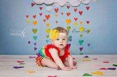 Pin for Later: These Are the Sweetest Rainbow Baby Photo Ideas You've Ever Seen Toddler Birthday Cakes, Rainbow First Birthday, Baby 1st Birthday, Rainbow Baby, Kylie Birthday, Rainbow Tutu, Rainbow Photo, Rainbow Smash Cakes, Baby Cake Smash