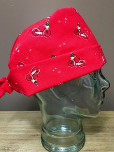 Red Bicycles with Christmas Trees Surgical Scrub Hat 8ee184e8c437